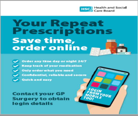 Your Repeat Prescriptions Save Time Order Online Order any time day or night 24 7 keep track of your medications only order what you need confidential reliable and secure quick and easy contact your GP surgery to obtain login details